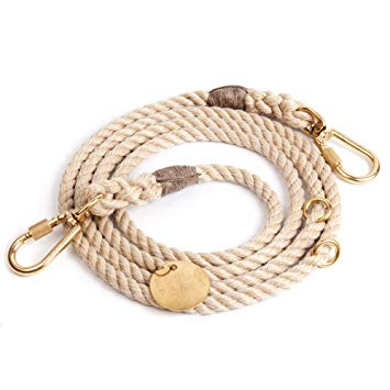 Light Tan Rope Dog Leash, Adjustable - Frank and Millie