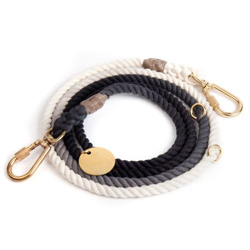 Black Ombre Cotton Rope Dog Leash, Adjustable - Frank and Millie