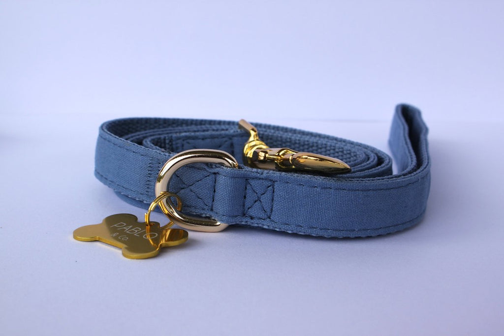 Blue Jean Linen Leash - Frank and Millie