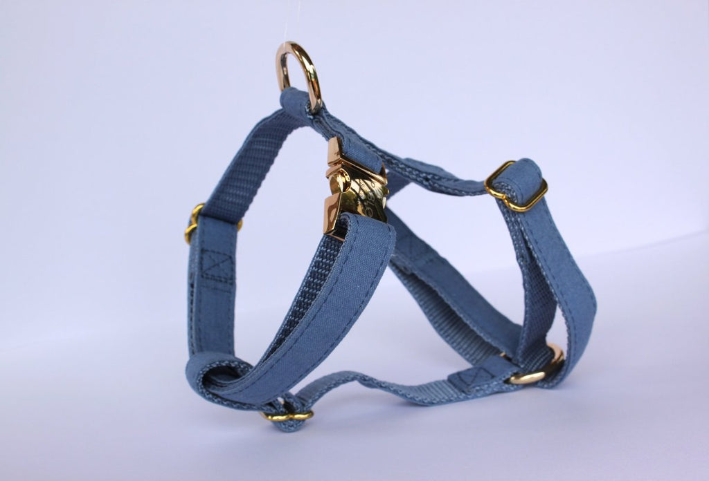 Blue jean linen harness - Frank and Millie