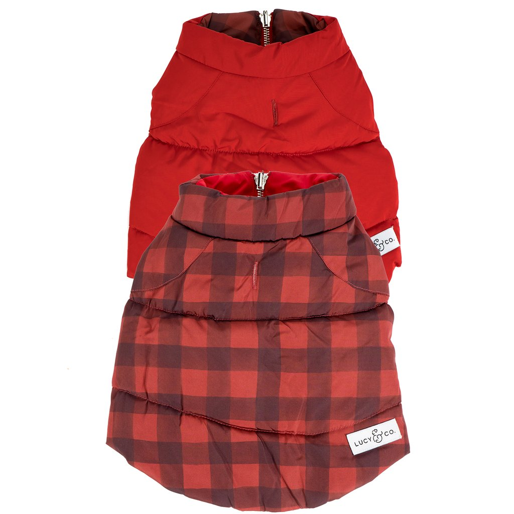 Buffalo plaid reversible puffer vest - Frank and Millie