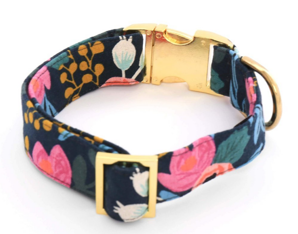 Rosa Floral Navy Dog Collar - Frank and Millie