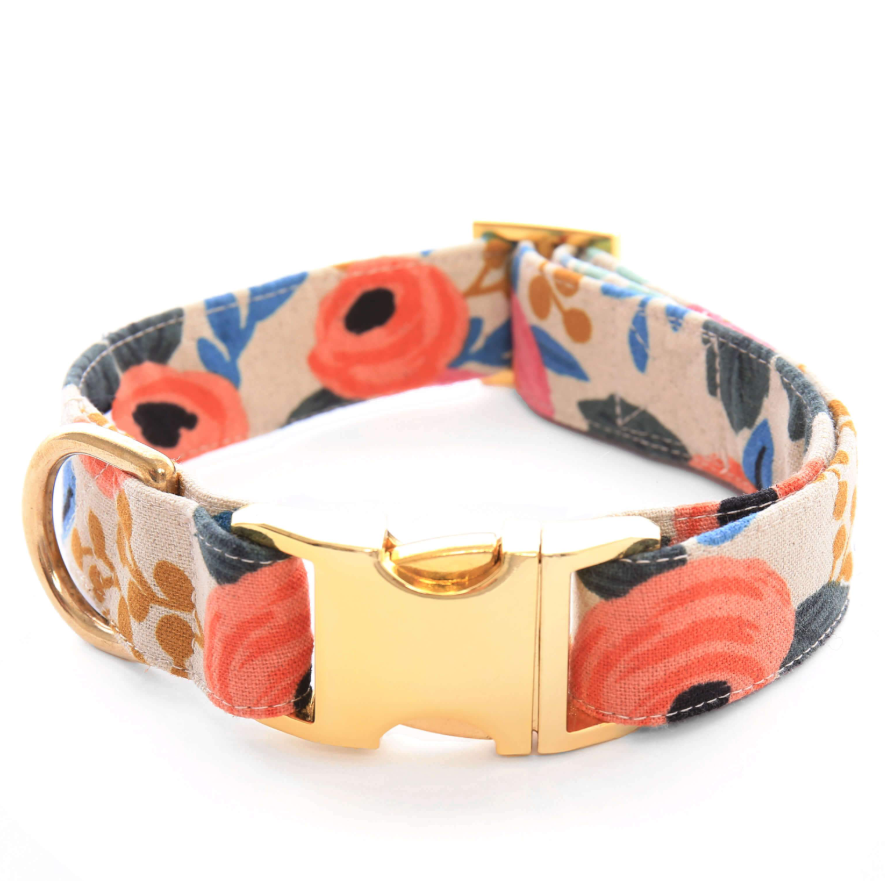 Rosa Floral Natural Dog Collar - Frank and Millie