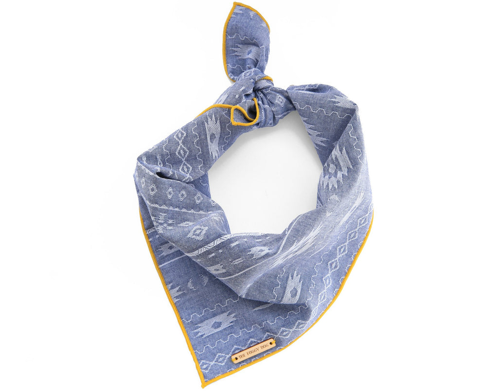 Aztec Chambray Dog Bandana - Frank and Millie