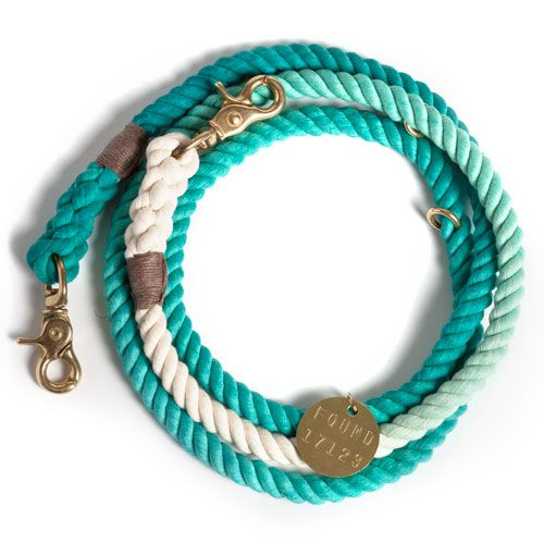 Adjustable teal ombre rope dog leash - Frank and Millie