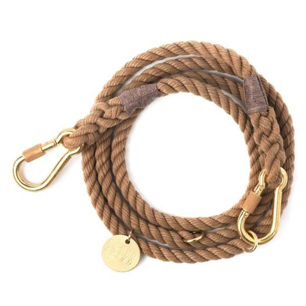 Dark Tan Rope Dog Leash, Adjustable - Frank and Millie