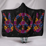 Premium Quality Peace and Love Hooded Blanket