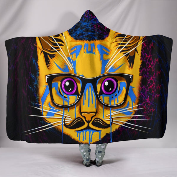 Hipster Cat Hooded Blanket