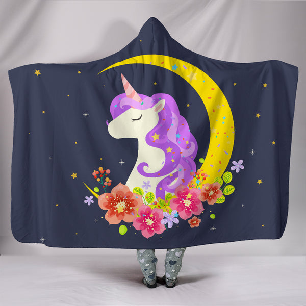 Dark Blue Starry Night Crescent Moon Unicorn Hooded Blanket