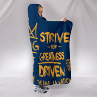 Premium Quality Strive For Greatness Blue And Gold Hooded Blanket