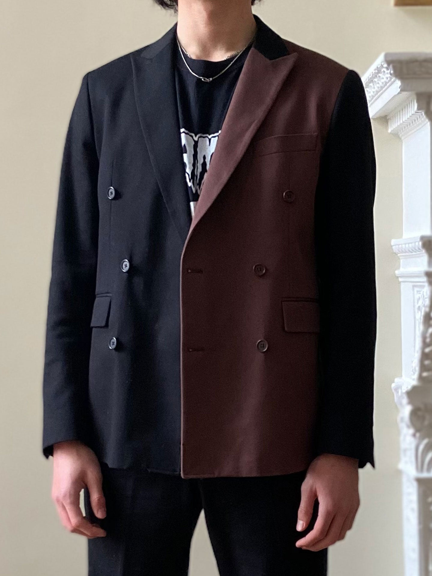 Black and Brown Double-Breasted Jacket (Pre-Order)