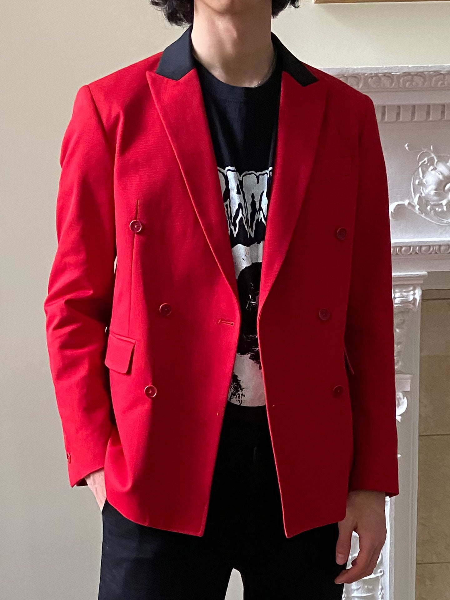 Red and Black Double-Breasted Jacket (Pre-Order)