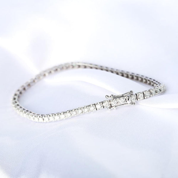 10k White / Yellow / Rose Gold Tennis Moissanite Bracelet 2.5ct