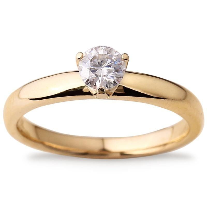 14k Yellow Gold Solitaire Moissanite Ring 0.4ct - Moissanite Engagement Rings & Jewelry | Luxus Moissanite