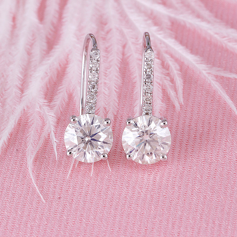 14k White Gold Moissanite Drop Earrings 2.12ctw
