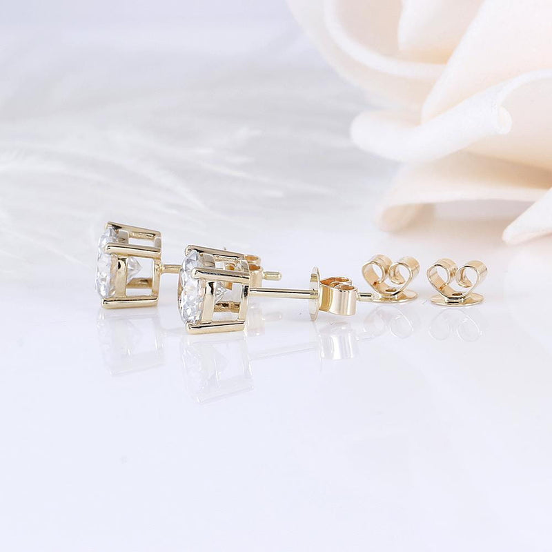 14k Yellow Gold Stud Moissanite Earrings 2ct Total - Moissanite Engagement Rings & Jewelry | Luxus Moissanite