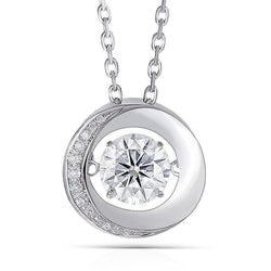 14k White Gold Dancing Moissanite Necklace / Pendant 1 Carat - Moissanite Engagement Rings & Jewelry | Luxus Moissanite