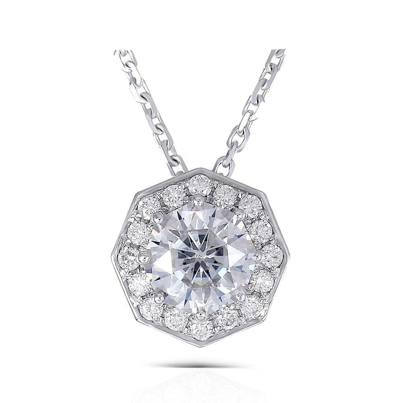 14k White Gold Octogon Cut 1 Carat Center Stone Moissanite Necklace - Moissanite Engagement Rings & Jewelry | Luxus Moissanite