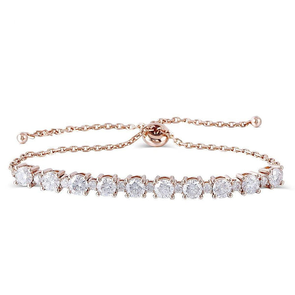 18k Rose Gold Tennis Moissanite Bracelet 2.8ctw