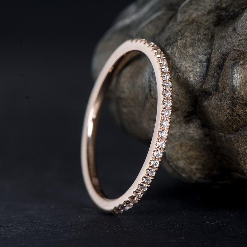 Moissanite 10k White Gold & 10k Rose Gold Anniversary Rings - Luxus Moissanite Engagement Rings