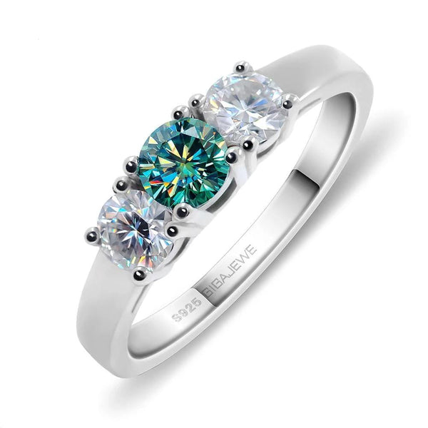 Moissanite 3 Stone Ring With Green Center Stone, 1 Carat Total, Silver Band - Luxus Moissanite Engagement Rings