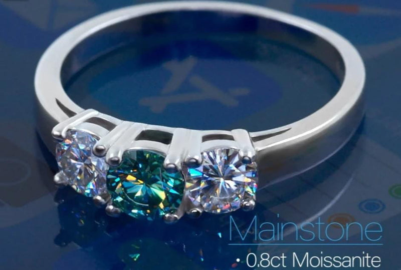 White Gold Plated Silver 3 Stone Moissanite Ring 1ct Total - Moissanite Engagement Rings & Jewelry | Luxus Moissanite