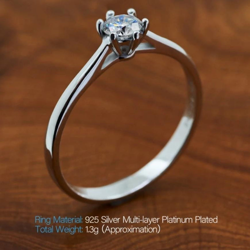 White Gold Plated Silver Moissanite Ring 0.3ct - Moissanite Engagement Rings & Jewelry | Luxus Moissanite