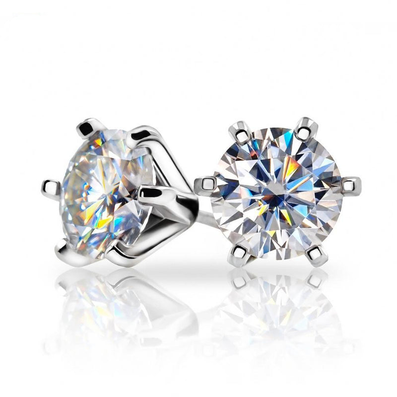 Gold Plated Silver Moissanite Earrings 2ctw (multiple moissanite color options)