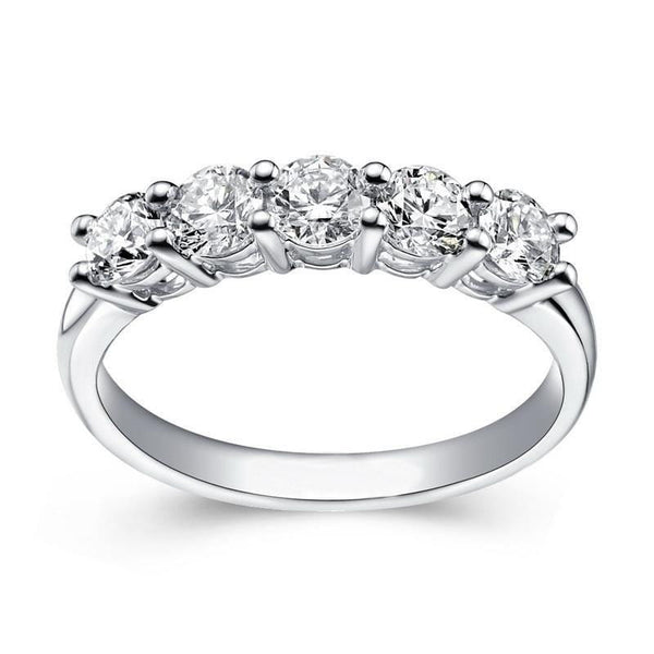 White Gold Plated Silver 5 Stone Moissanite Anniversary Ring 0.85ct - Moissanite Engagement Rings & Jewelry | Luxus Moissanite