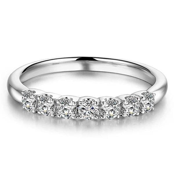 Moissanite Anniversary Ring 7 Stone Silver Band .25 Carat Total - Luxus Moissanite Engagement Rings