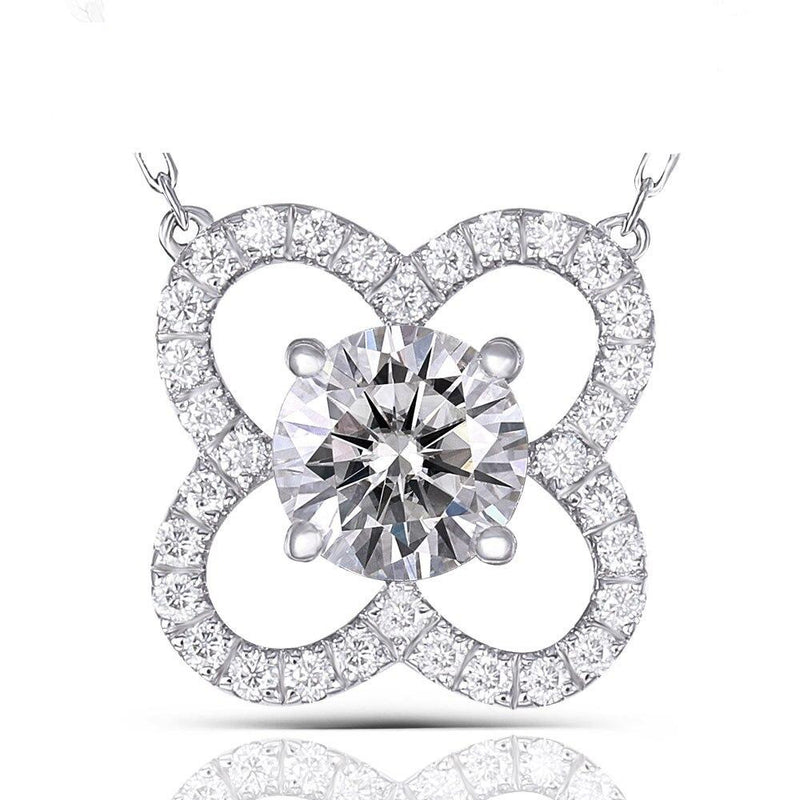 Platinum Plated Silver Moissanite Necklace / Pendant 1.02ct Total