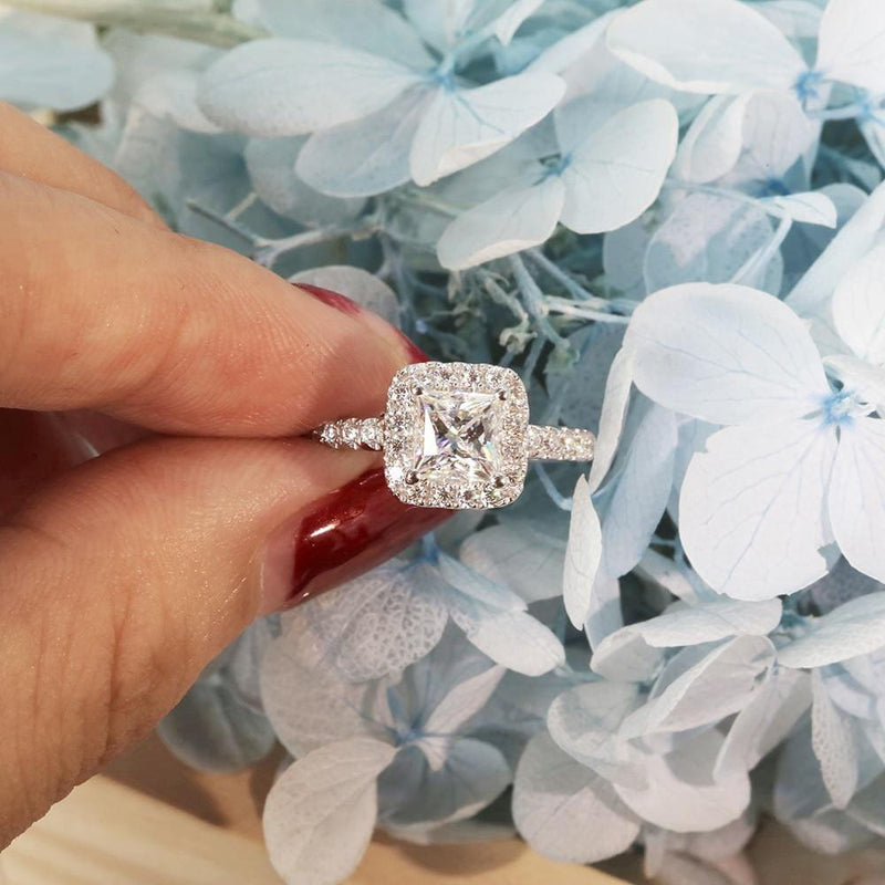 Platinum Plated Silver Princess Cut Halo Moissanite Ring 1ct Total - Moissanite Engagement Rings & Jewelry | Luxus Moissanite