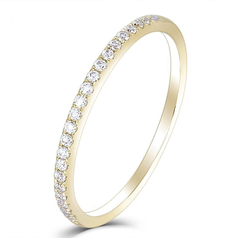 14k Yellow Gold Moissanite Half Eternity Ring 0.25ct Total - Moissanite Engagement Rings & Jewelry | Luxus Moissanite