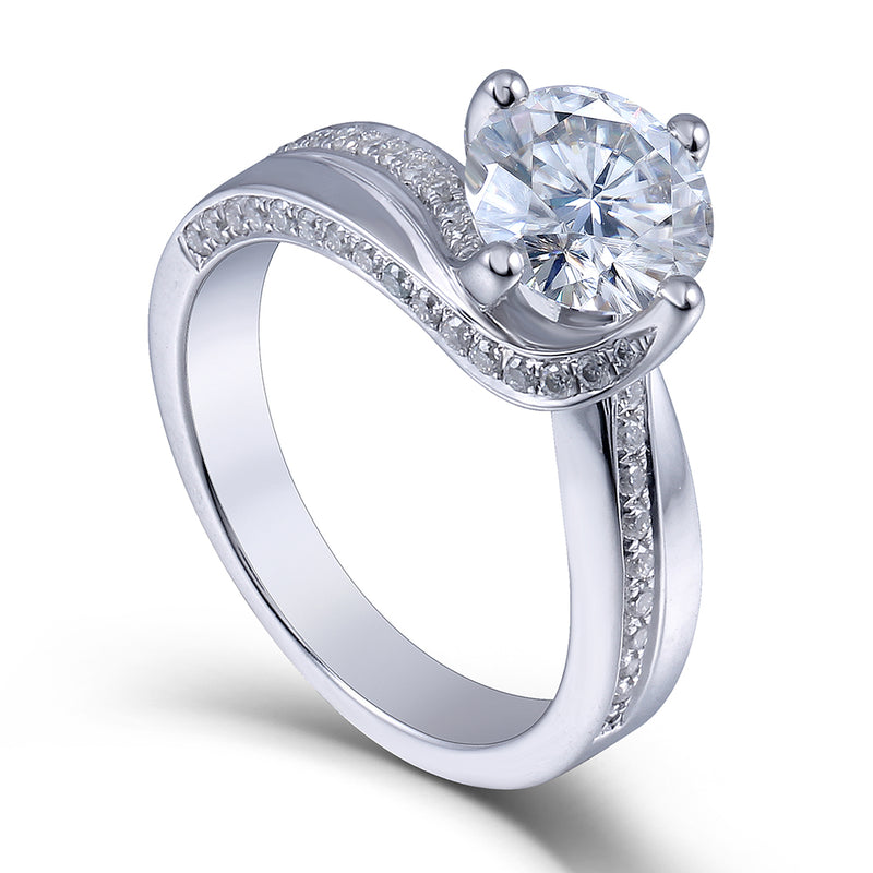 Solitaire Moissanite Engagement Ring Platinum Plated Silver 1.5 Carat Center Stone