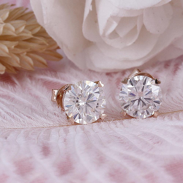 14k Rose Gold Moissanite Stud Earrings 2 Carat Total - Moissanite Engagement Rings & Jewelry | Luxus Moissanite