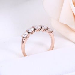 14k Rose Gold 5 Stone Moissanite Anniversary Ring 1.25ct Total