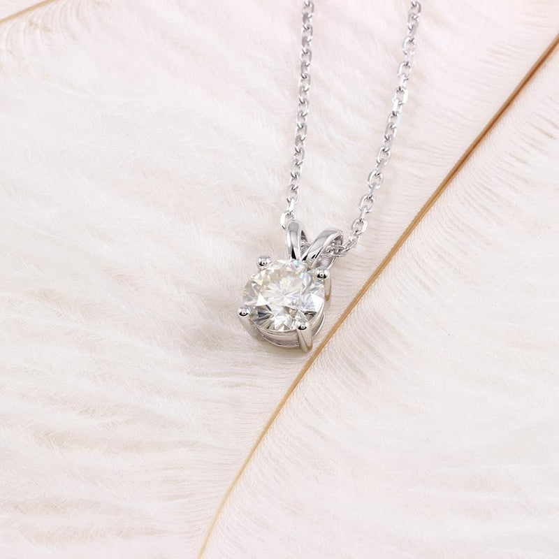 Platinum Plated Silver Moissanite Necklace 2 Carat - Moissanite Engagement Rings & Jewelry | Luxus Moissanite