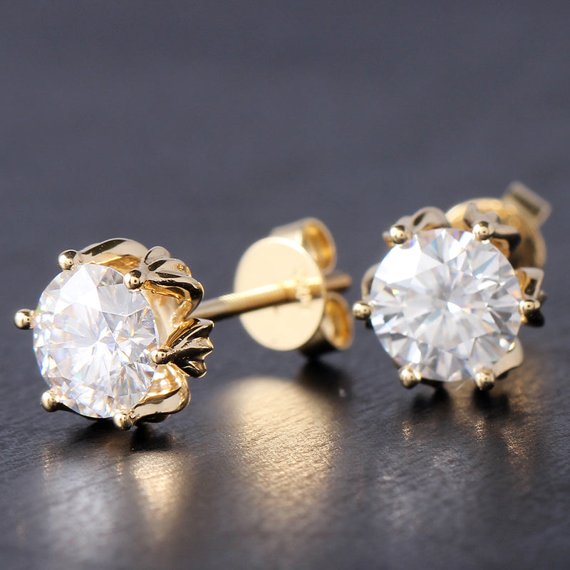 14k Yellow Gold Flower Shaped Stud Moissanite Earrings 2ctw
