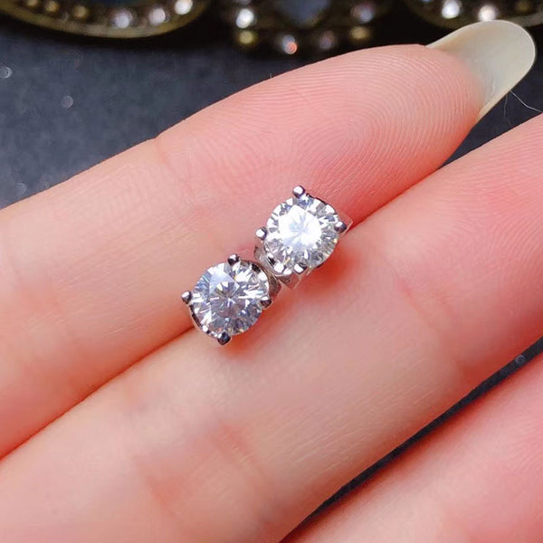 White Gold Plated Silver Moissanite Stud Earrings 1ctw