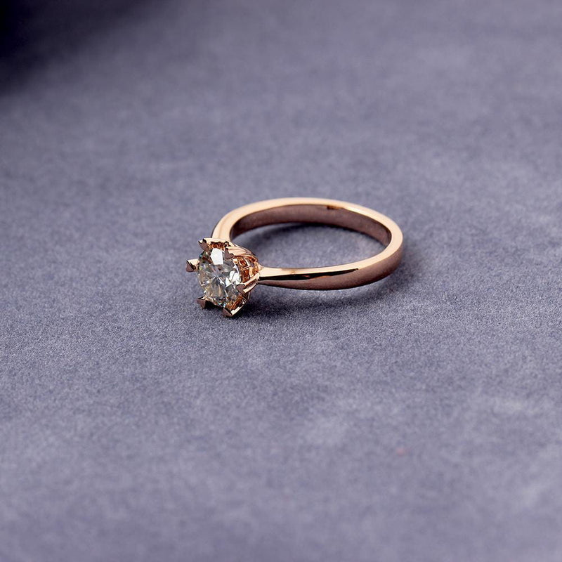 14k Rose Gold Solitaire Moissanite Ring 1ct
