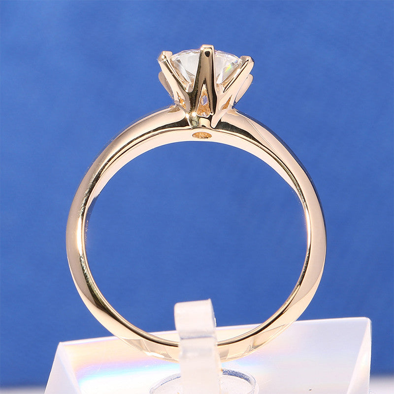 14k Yellow Gold Solitaire Moissanite Ring 2ct
