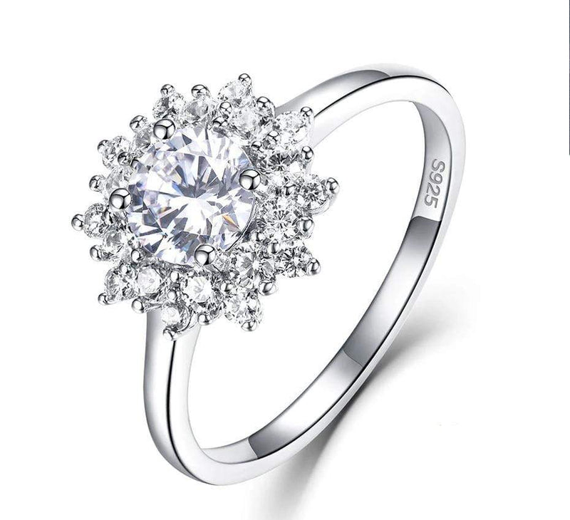 Platinum Plated Silver / Rose Gold Halo Moissanite Ring 0.7ct
