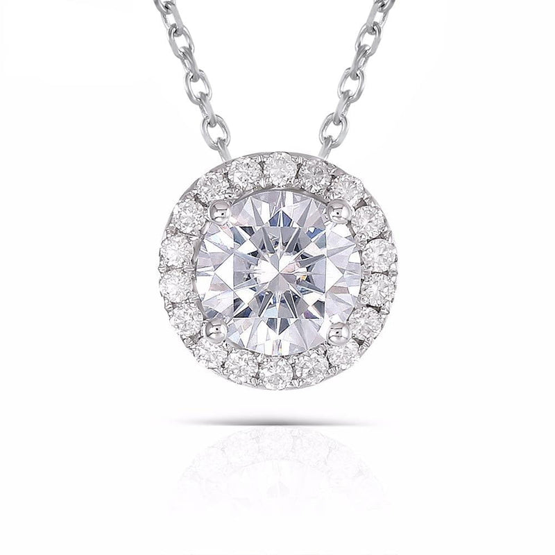 14k White Gold Halo Moissanite Necklace 1 Carat Center Stone - Moissanite Engagement Rings & Jewelry | Luxus Moissanite