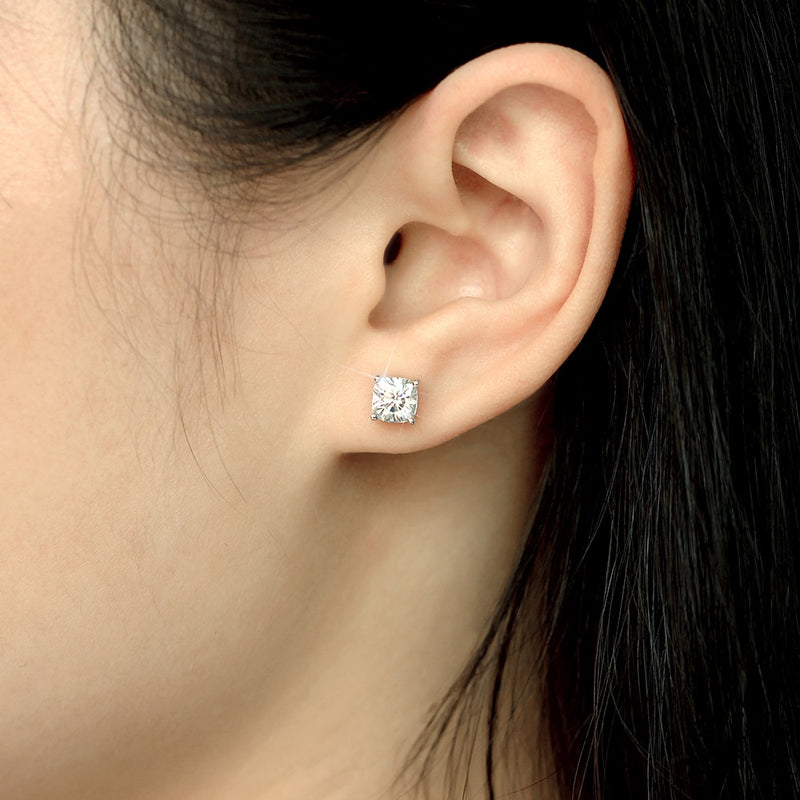 Platinum Plated Silver Cushion Cut Stud Moissanite Earrings 2ctw