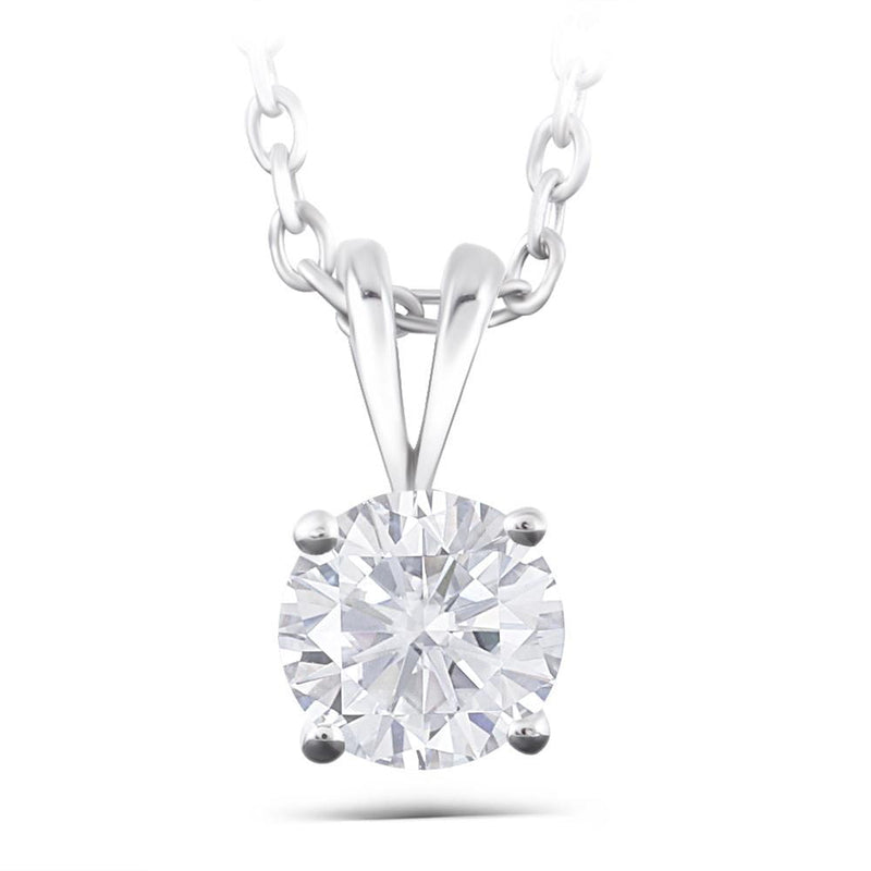 14k White Gold Moissanite Necklace 1 Carat - Moissanite Engagement Rings & Jewelry | Luxus Moissanite