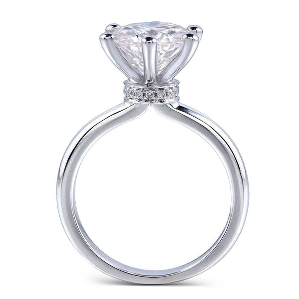 14k White Gold Solitaire Moissanite Ring 1ct - 4.91ct Options - Moissanite Engagement Rings & Jewelry | Luxus Moissanite