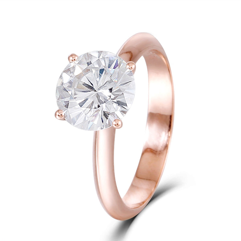 14k Rose Gold Solitaire Moissanite Ring 2.5ct