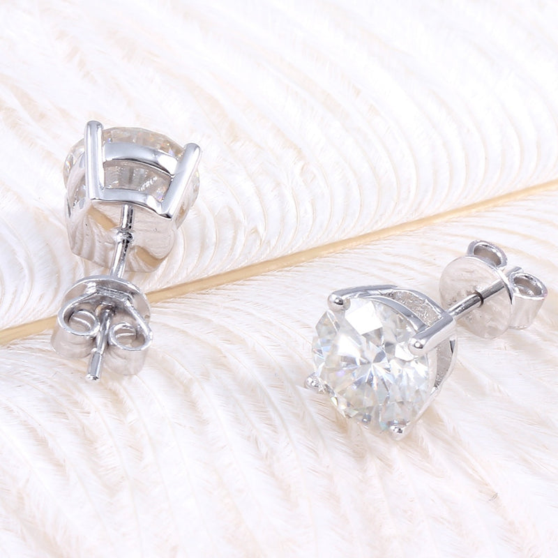 10k White Gold & Platinum Plated Silver Stud Moissanite Earrings 2ctw