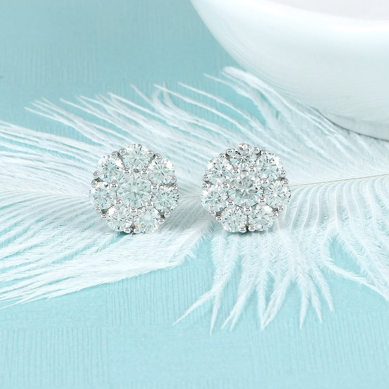 10k White Gold & Platinum Plated Silver Moissanite Earrings 1.9ctw