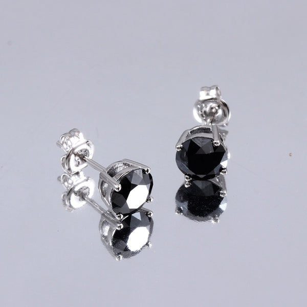 10k White Gold & Platinum Plated Silver Black Moissanite Stud Earrings 2ctw